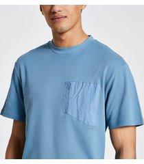 river island mens pastel tech blue nylon pocket t-shirt