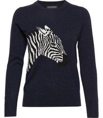 italian wool-blend zebra sweater stickad tröja blå banana republic