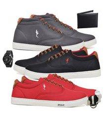 kit 3 pares sapatênis polo blu casual cano alto e cano baixo cinza/preto/vermelho acompanha carteira + relógio + cinto + meia.