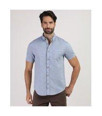 camisa masculina comfort com bolso manga curta azul