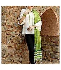 tussar silk shawl, 'fresh forest dreamer' (india)