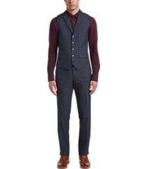 paisley & gray slim fit suit separates vest navy gingham