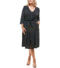monteau trendy plus size sash-belt printed midi dress