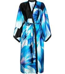 josie natori printed belted midi coat - blue