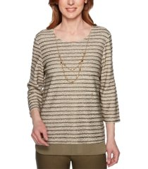 alfred dunner cedar canyon woven-trim knit necklace top