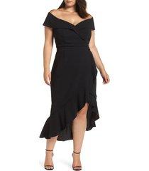 plus size women's xscape off the shoulder ruffle midi dress, size 22w - black