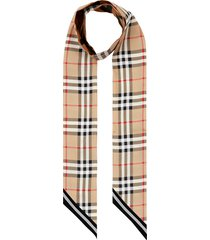 burberry vintage check mulberry silk skinny scarf in archive beige at nordstrom