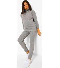 zwangerschaps gebreide geribbelde trui en legging set, grey marl