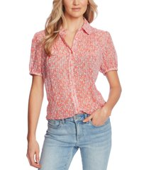 cece printed pintuck-pleat blouse