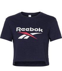 cl f big logo tee t-shirts & tops short-sleeved blå reebok classics