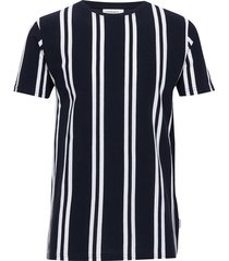 striped piqué tee s/s t-shirts short-sleeved blå lindbergh