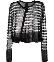 rundholz striped sheer cardigan - black