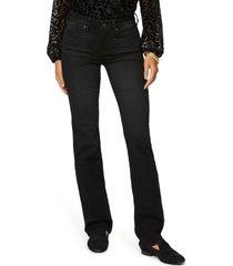 petite women's nydj marilyn straight leg jeans, size 18 - black