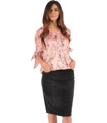 falda pencil color siete para mujer - negro