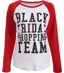 black friday print raglan sleeve tee
