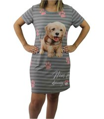 camisola mã©dia estampada neway feminina cinza e dog - amarelo/branco/caramelo/cinza/grafite/ - feminino - poliã©ster - dafiti