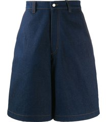 ami paris wide-leg denim shorts - blue