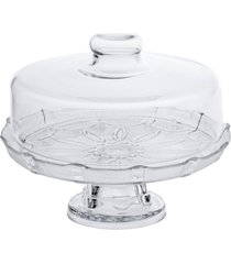 prato para bolo, boleira, porta bolo de vidro com tampa e base - branco - dafiti