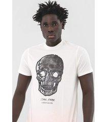 camiseta john john caveira off-white - off white - masculino - algodã£o - dafiti