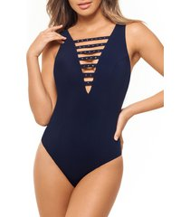 women's amoressa romancing the stone one-piece swimsuit, size 8 - blue