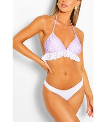 heart print frill triangle bikini top, pink