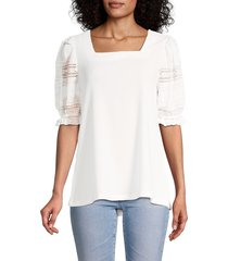 joseph a women's crinkle lace-sleeve top - ivory - size l