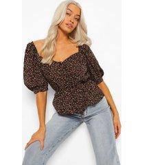 bloemenprint blouse met knopen, black