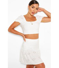 broderie anglaise gypsy top & skirt co-ord, ivory
