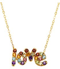 "multi-gemstone love 18"" pendant necklace (1 ct. t.w.) in 14k gold-plated sterling silver"