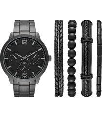 folio men's black stainless steel bracelet watch 46mm gift set