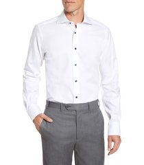 men's big & tall david donahue trim fit diamond weave dress shirt, size 16.5 36/37 - white