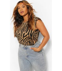 plus tonal zebra print shoulder pad t-shirt, stone