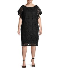 plus flutter-sleeve lace dress