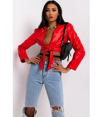 akira highest in the room tie front faux leather crop top