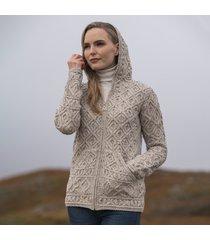 women's kinsale oatmeal aran hoodie cardigan xl