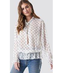 na-kd boho polka dot tie detail blouse - white