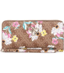 guess noelle logo floral zip around wallet wristlet