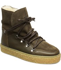 lola wool shoes boots ankle boots ankle boots flat heel grön pavement