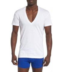 men's 2(x)ist 3-pack slim fit deep v-neck t-shirt, size large - white