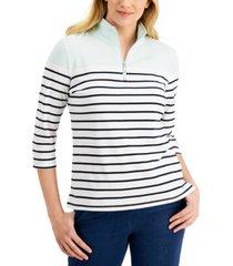 karen scott 3/4-sleeve stripe zip-neck top, created for macy's