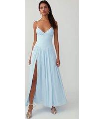 pale blue tie shoulder tri-cup gown