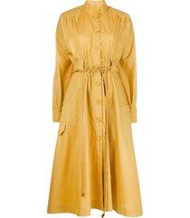 fendi belted midi shirt dress - yellow