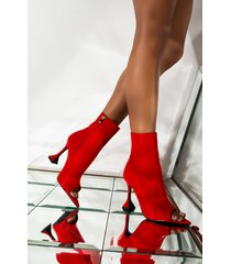 akira azalea wang cant handle this heat stiletto bootie in red