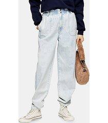 bleach wash elastic waist baggy jeans - bleach stone