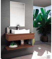 bancada para banheiro suspensa com cuba cinamomo lilies - marrom - dafiti