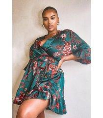 plus oriental floral wrap belted dress, green