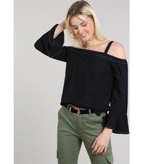 blusa feminina decote reto manga longa sino preto
