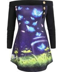 plus size off the shoulder butterfly print button t shirt