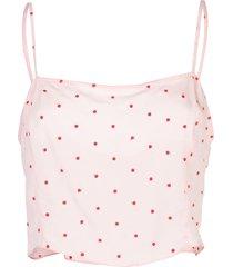 fleur du mal dot embroidered straight neck cami - pink