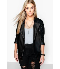 plus quilted faux leather biker jacket, black